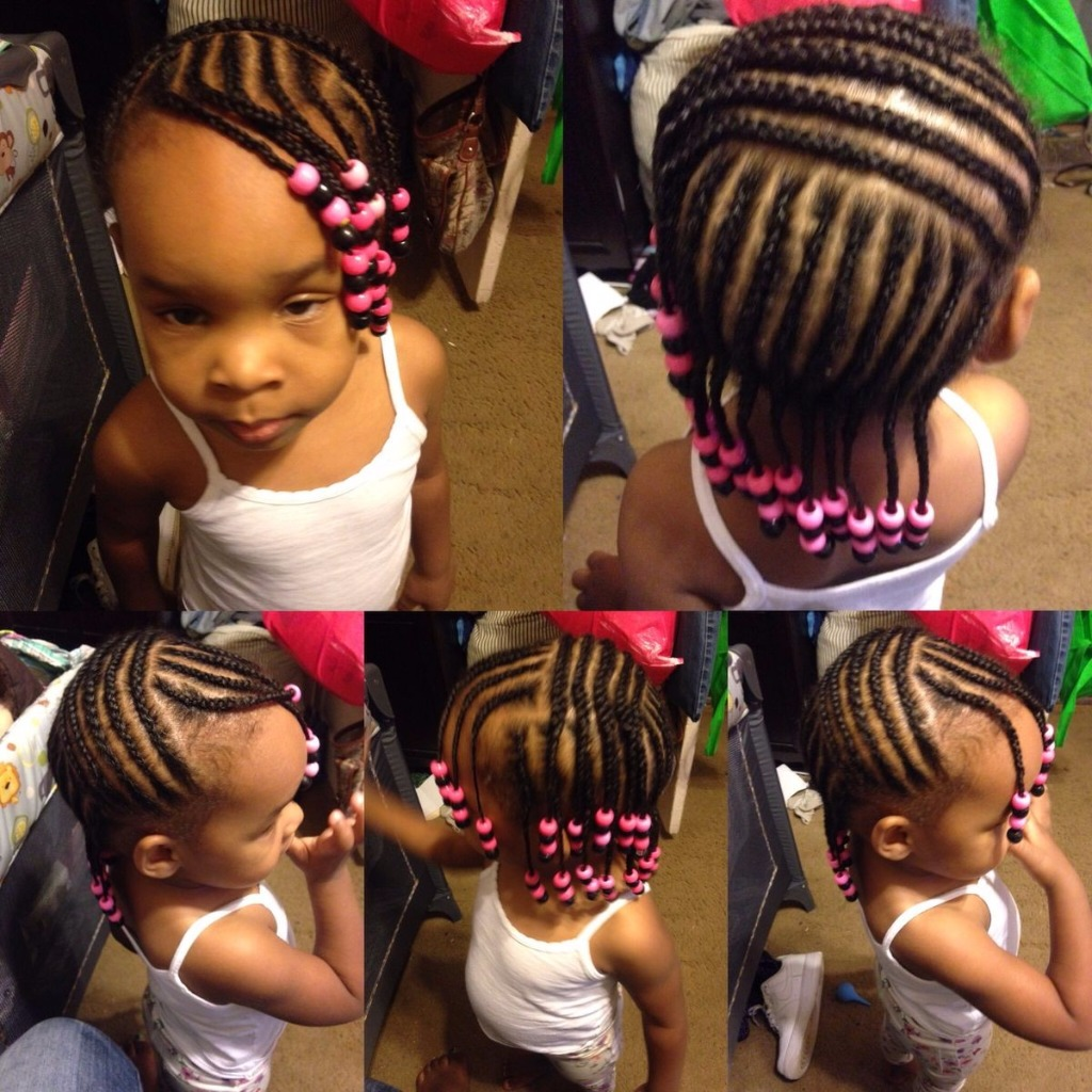 Coiffure fille tresse collee